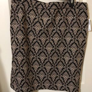 NWT 1X stretch waist Ornate Shimmer Skirt Rose GLD